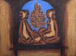 """The Conversation""   charcoal, ochre, pastel  1993   76x55cm"