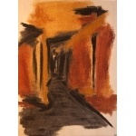 """The Way to the River (after de Kooning)"" (part of series)   charcoal, ochre 1998   76x55cm"