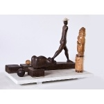 """In the Presence of (Head)""   1982-84   various woods on Marble   36x53x25cm"