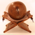 """Ball on Stool"" 2010 Oak, Pitch Pine and leather 55 x 53 x 36cm"